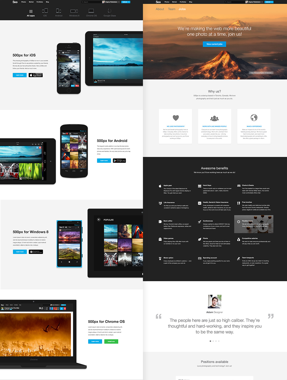 500px jobs page