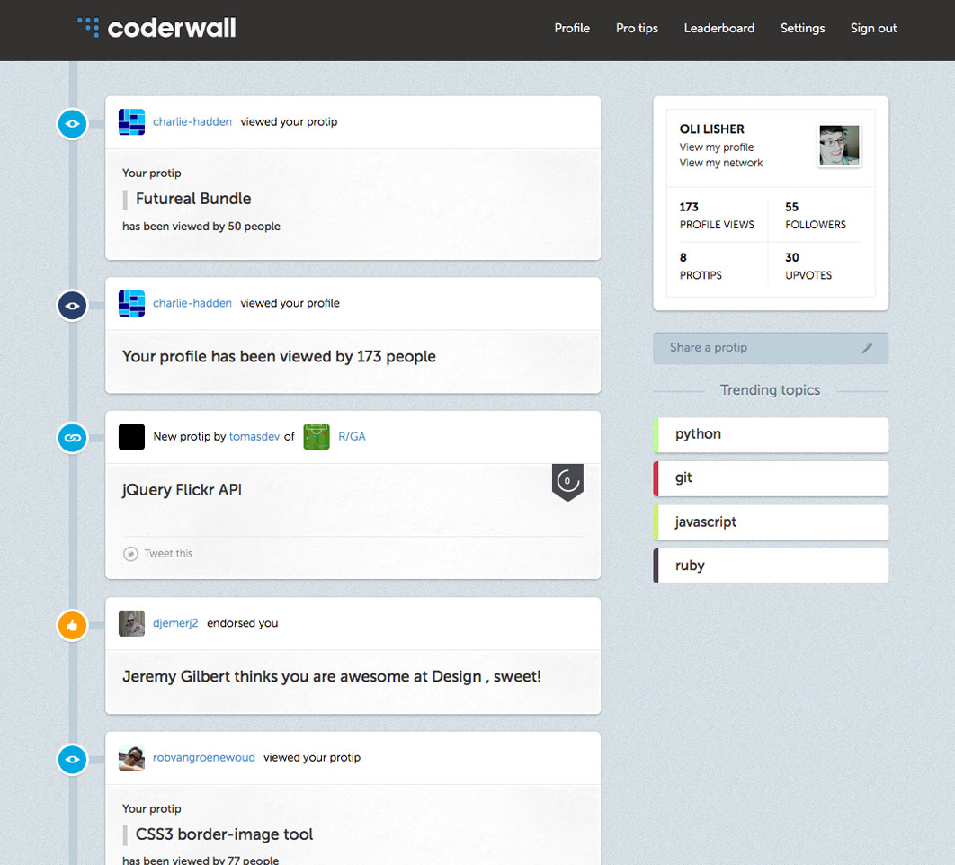 Coderwall dashboard